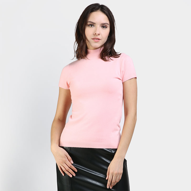 BLUG1099 UpTown Girl Cap S Turtle Neck Knitted Top Color Pink
