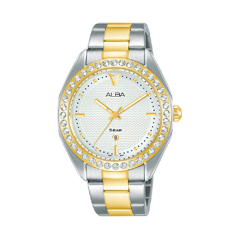 Alba AH7V34X1 Ladies White Patterned Dial Dual Tone Stainless Steel Strap