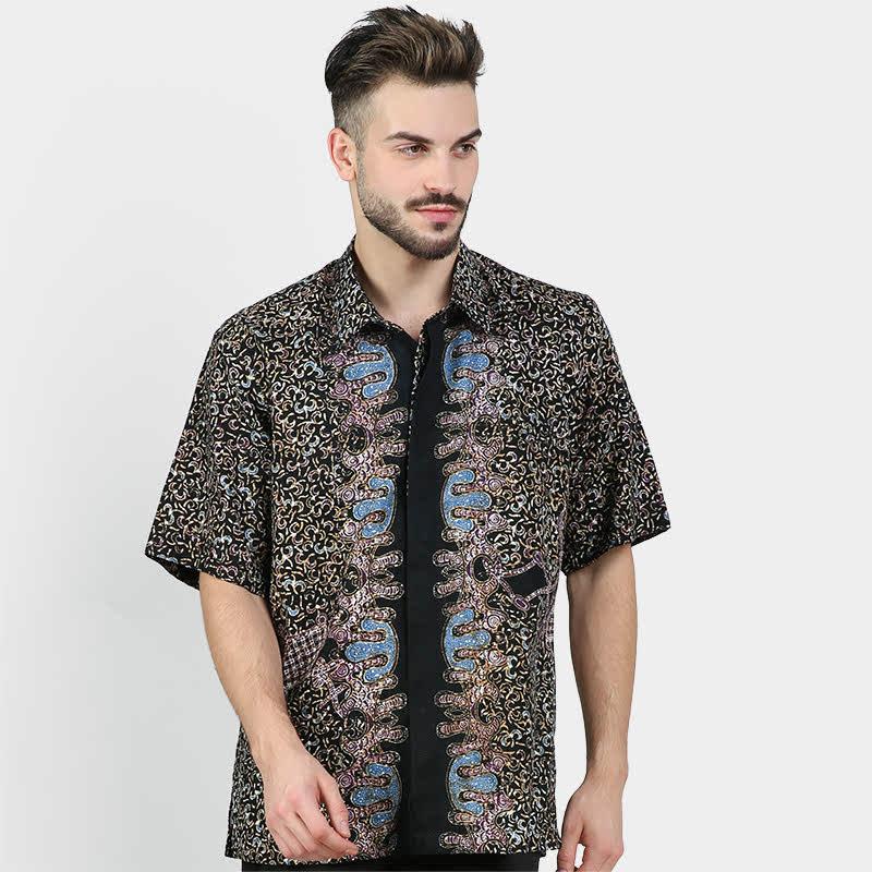 Batik Muda Hem Dobby Cirebon Shirt Black