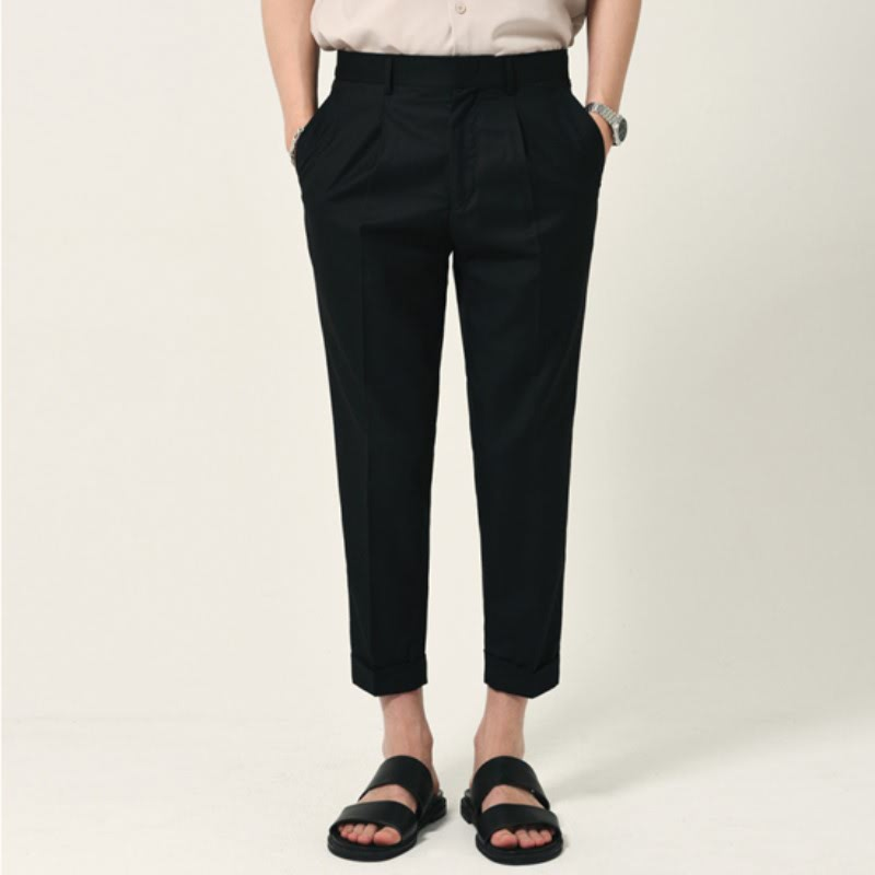 Lomo Pintuck Turn-up Slacks - BLACK