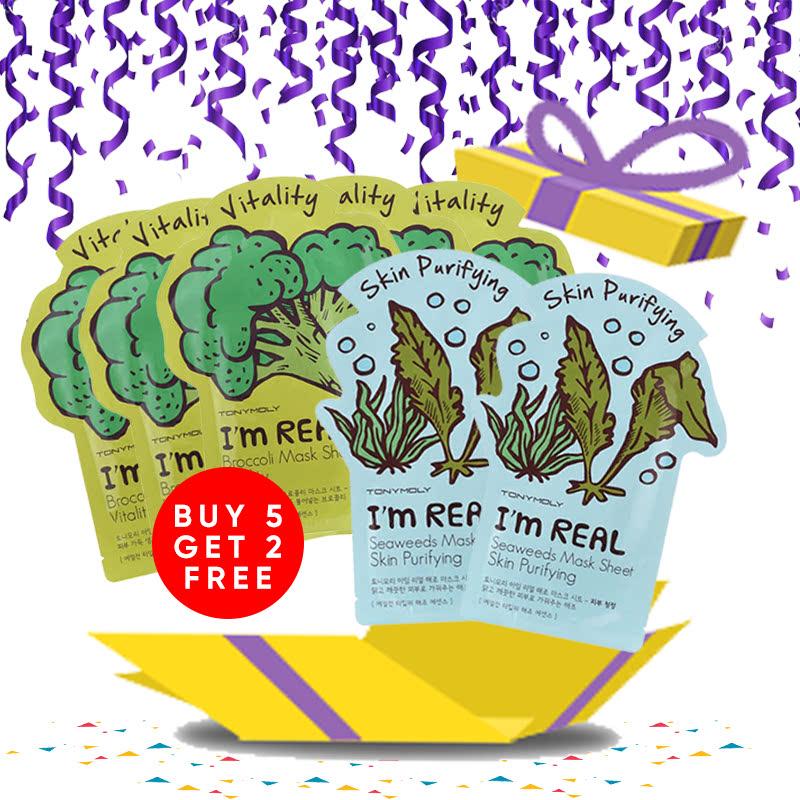 Tony Moly Bundle 5pcs I Am Real Brokolli Mask Sheet Vitality + 2pcs Seaweeds Mask Sheet Skin Purifying