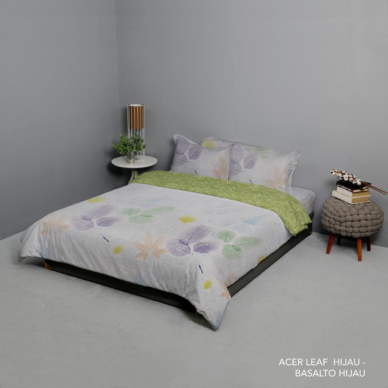 King Rabbit Set Seprei Sarung Bantal Full Size 120x200x40cm Motif Acer Leaf - Hijau