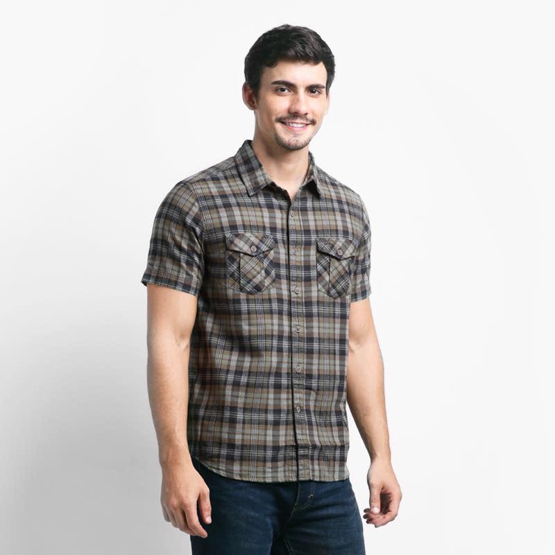 Camel Active Olive Mens Shirt Short Sleeve 102AW16H1390 - Checkered Dark Grey