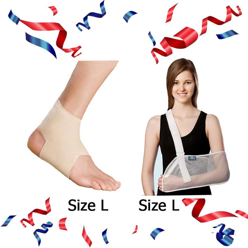Ankle Brace - EAN001 (Size L) + E-Life Mesh Arm Sling Size L