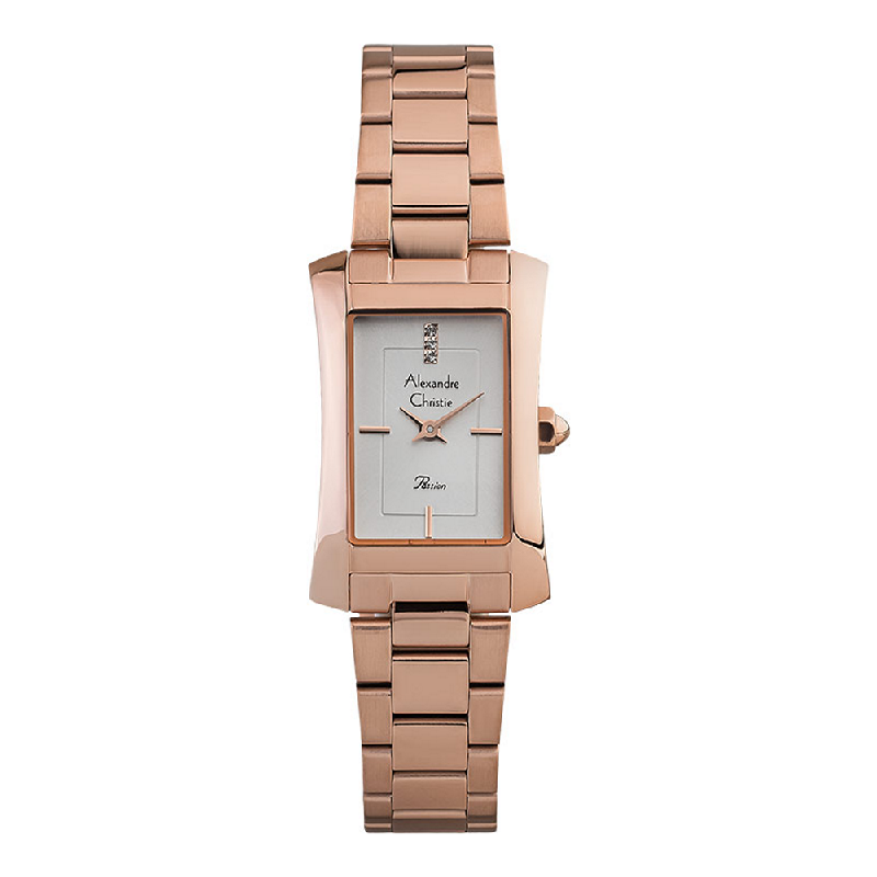 Alexandre Christie Passion AC 2905 LH BRGSL Ladies Silver Dial Rose Gold Stainless Steel Strap