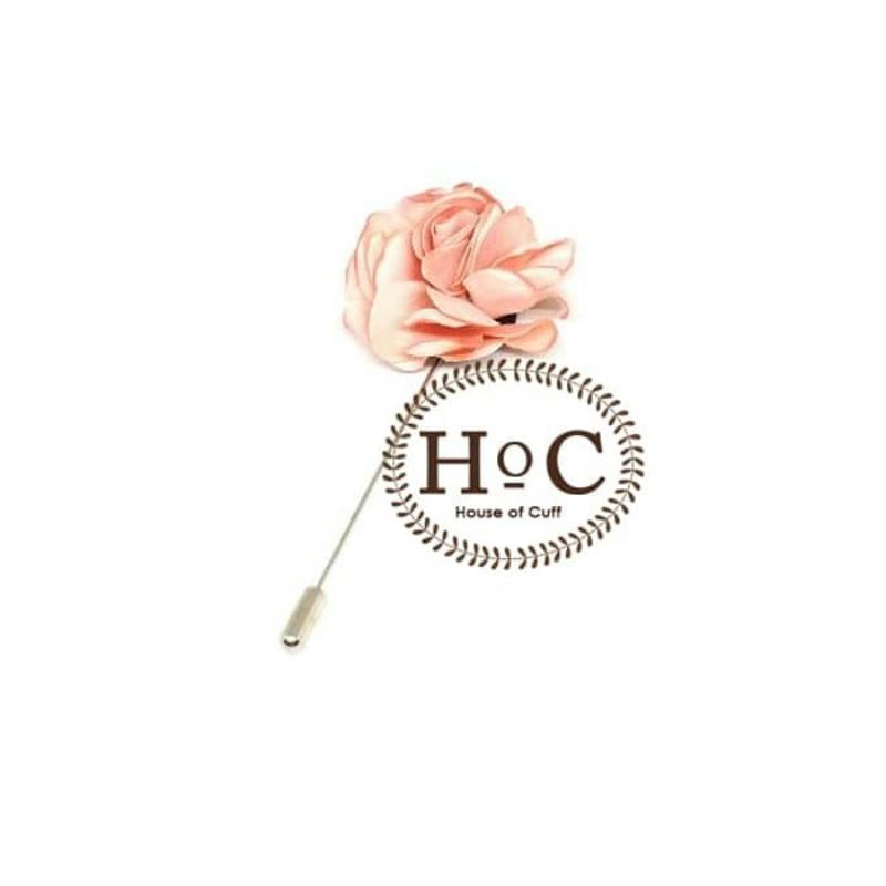 House Of Cuff Korsase Bunga Corsage Brooch Pastel Soft Pink Flower Lapel