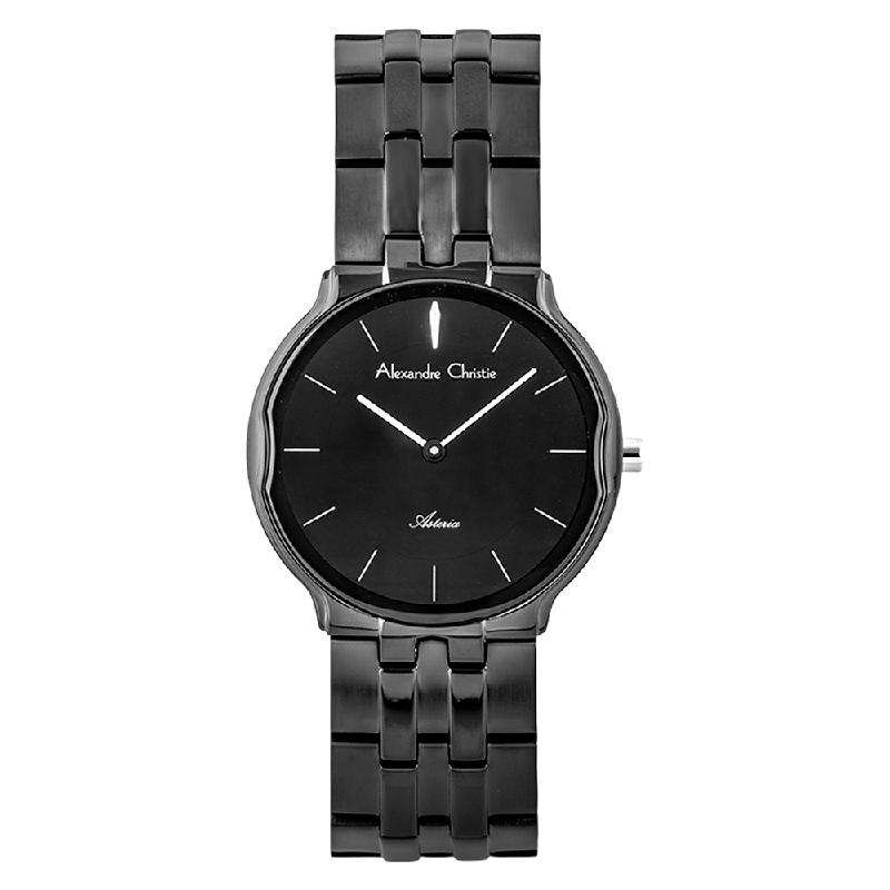 Alexandre Christie Asteria AC 8616 LH BIPBA Ladies Black Dial Black Stainless Steel Strap