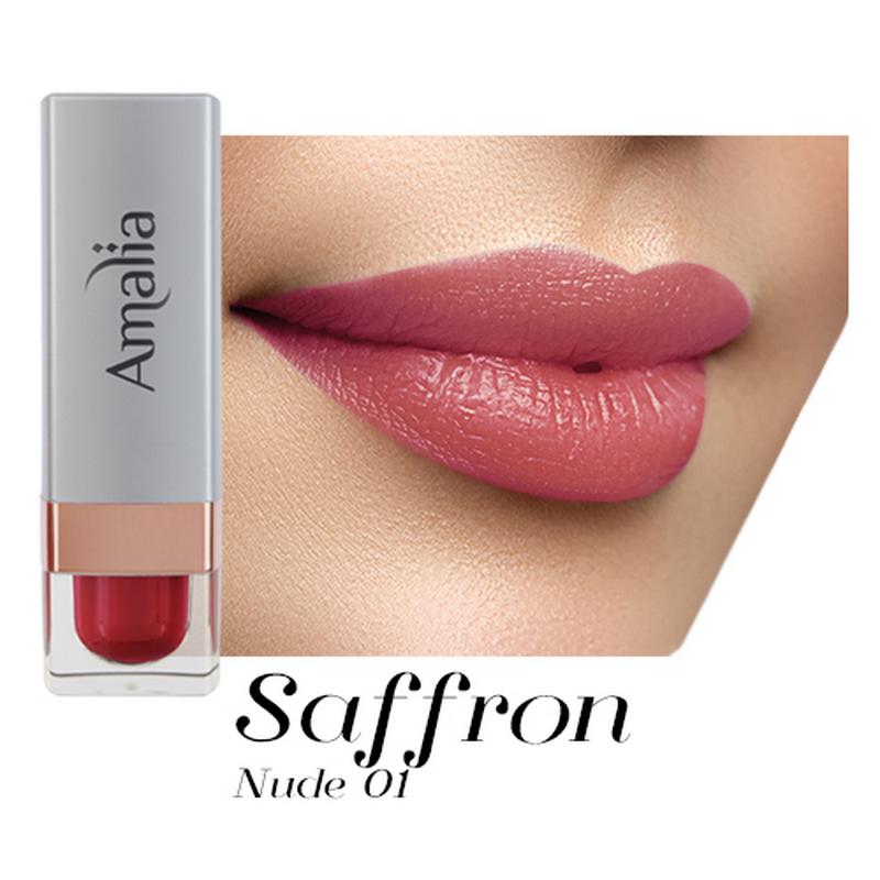 Amalia Satin Lipstick Saffron Nude 01