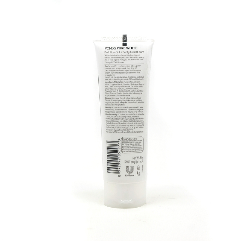 Ponds Facial Foam Pure White Pollution Out 50G