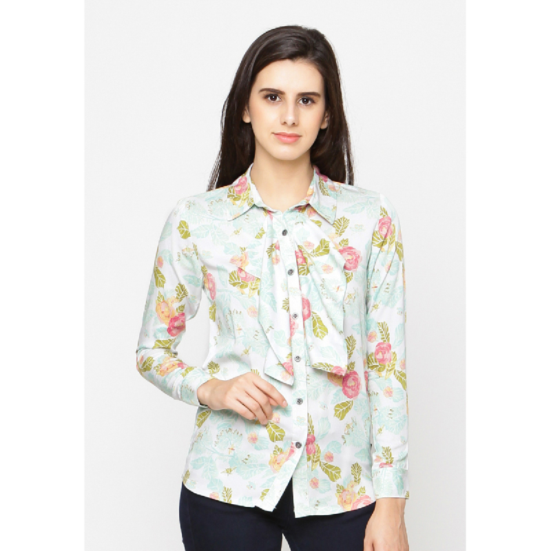 Agatha Long Sleeve Floral Button Up Top Green