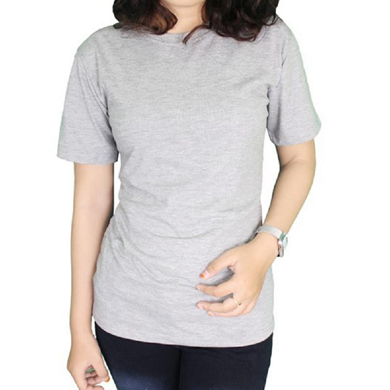 Gudang Fashion Kaos Polos Wanita ONeck Pendek Cotton Combed S20 Abu Rokok (Misty)