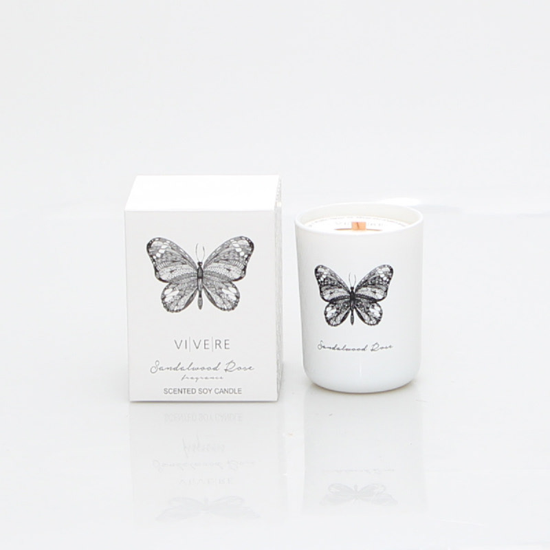 VOTIVE CANDLE BUTTERFLY WHI 9X9X12CM