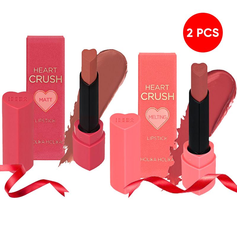 Holika Holika Heart Crush Lipstick Fitting Melting PK04 Prim Rose + Power Matt BE05 New Nude