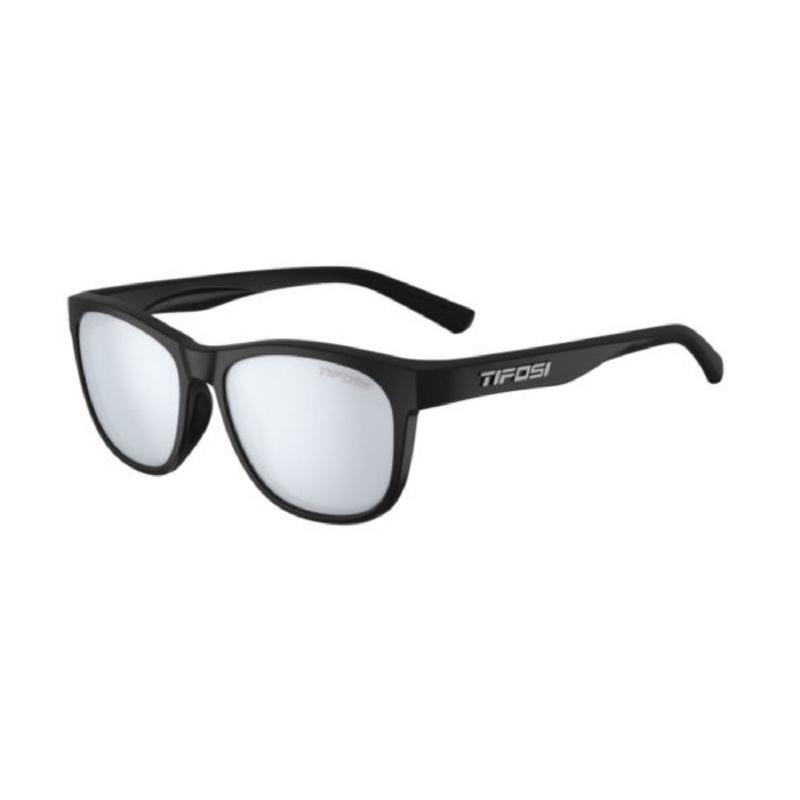 Tifosi Swank Satin Black Sunglasses Smoke Bright Blue Lens