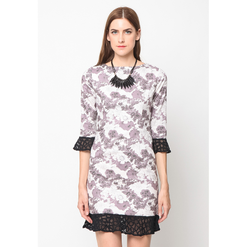Agatha Flower Shift Dress With Lace Beown