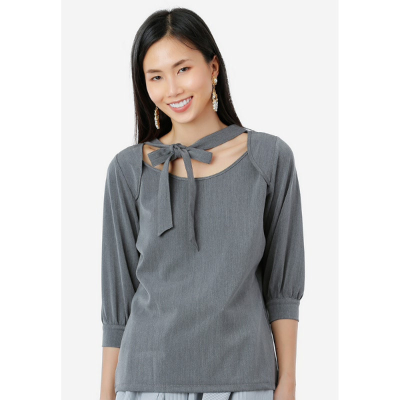 Lovadova Tied Pewter Blouse Grey