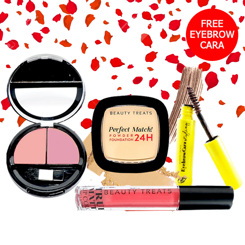 Beauty Treats Make Up Set A (Perfect Match Powder Foundation 24H No. 1 + True Matte Lip Color No. 2 + Duo Blush No. 3) FREE Eyebrowcara Dark Brown