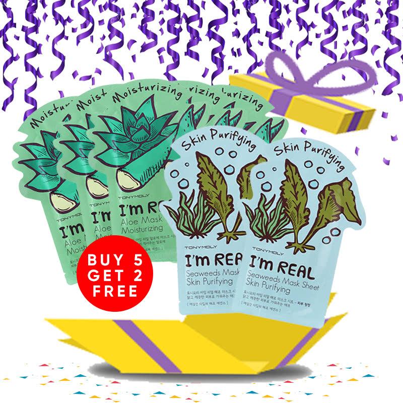 Tony Moly Bundle 5pcs I Am Real Aloe Mask Sheet Moisturizing + 2pcs Seaweeds Mask Sheet Skin Purifying