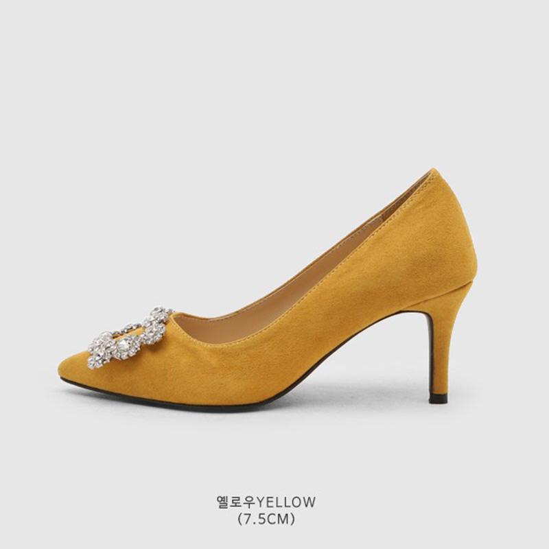 SAPPUN Loenf Cubic Stiletto Heels (7,5cm) - Yellow