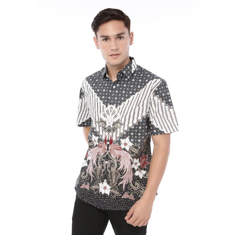Agrapana Batik Slimfit Baju Kemeja Hem Batik Pria Cowok Lengan Pendek Modern Premium Laki Laki Labda Grey