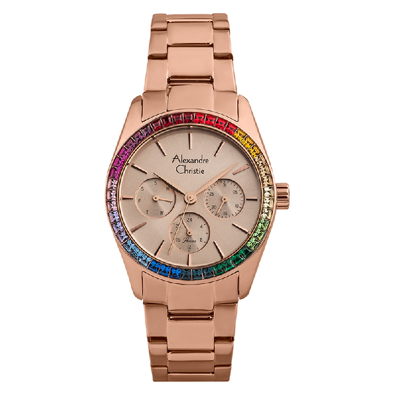 Alexandre Christie Passion AC 2876 BF BRGRG Ladies Rainbow Crystal Rose Gold Stainless Steel