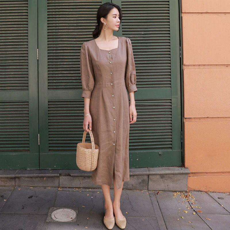 Chichera Dress-Time Pearl Dress A Khakibeige