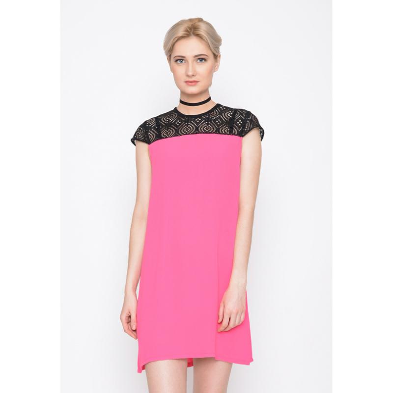 Agatha Black Lace Shoulder With Shocking Pink Dress Pink