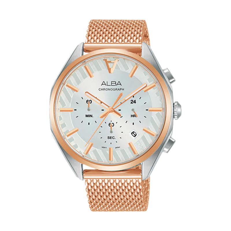 Alba Signa AT3H08X1 ChronographSilver Pattern Dial Rose Gold Mesh Strap