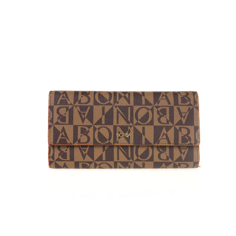 Bonia Classic Monogram Basic 80522-502-15 Wallet Wanita Coklat