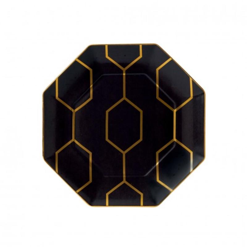 Arris - Octagonal Side Plate Charcoal 23cm