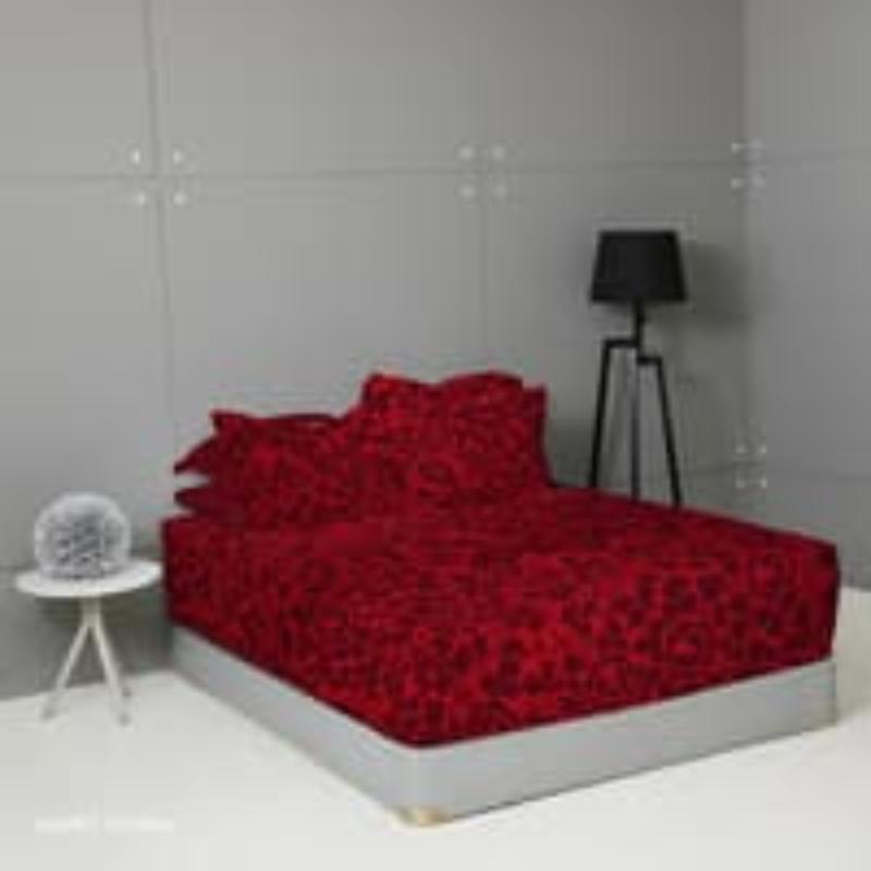 King Rabbit Set Seprei Sarung Bantal Queen Size 160x200x40cm Motif Romance - Merah