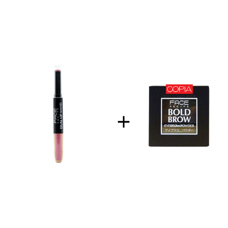 Face Recipe Duo Lip Wand Mauve +Face Recipe Bold Brow Medium