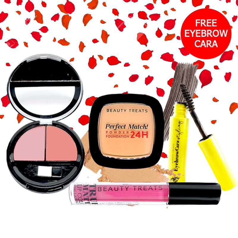 Beauty Treats Make Up Set A (Perfect Match Powder Foundation 24H No. 4 + True Matte Lip Color No. 4 + Duo Blush No. 1) FREE Eyebrowcara Dark Grey Brown