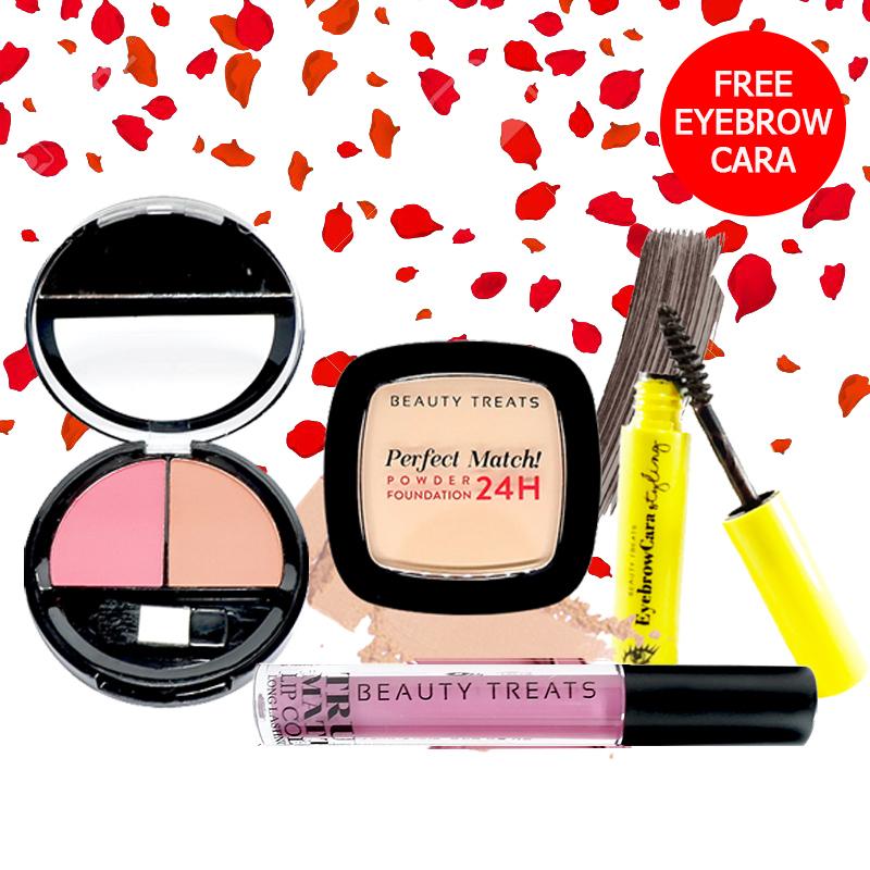 Beauty Treats Make Up Set A (Perfect Match Powder Foundation 24H No. 2 + True Matte Lip Color No. 3 + Duo Blush No. 2) FREE Eyebrowcara Dark Grey Brown