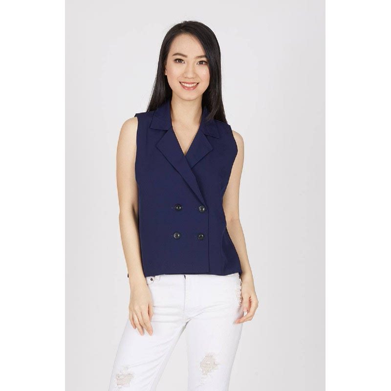 Fecia Lapel Top In Navy