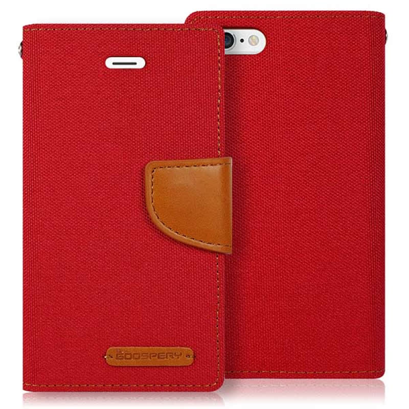 Goospery Canvas Diary for iPhone 6 - Merah