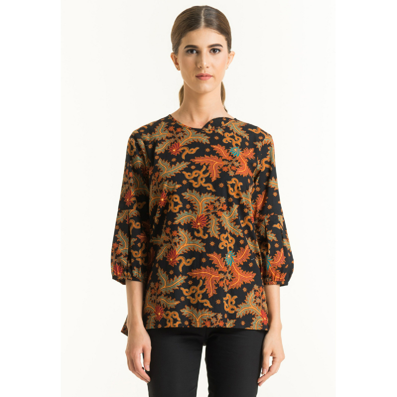 Bateeq Women Long Sleeve Cotton Print Blouse FL012B-SS18 Black