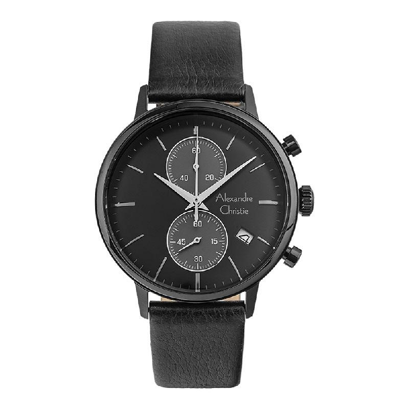 Alexandre Christie AC 6572 MCLIGBA Chronograph Men Black Dial Black Leather Strap