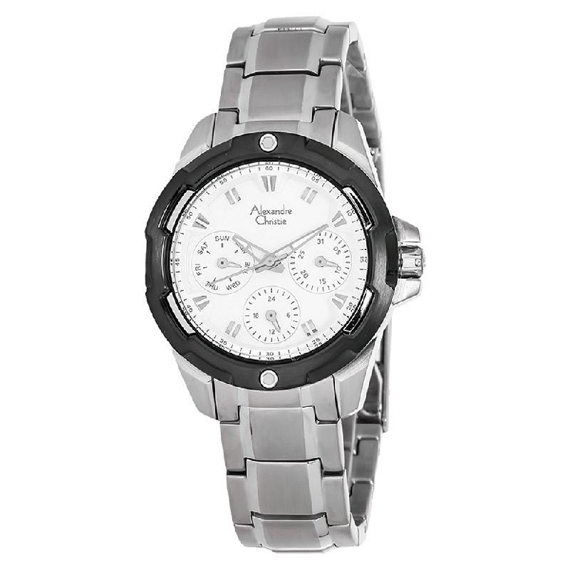 Alexandre Christie AC 6305 BF BTBSL Ladies White Dial Multifunction Watch
