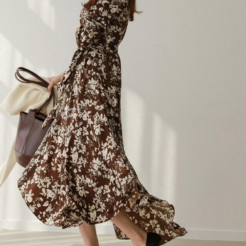 Chichera Sofia Flower Dress Y Brown