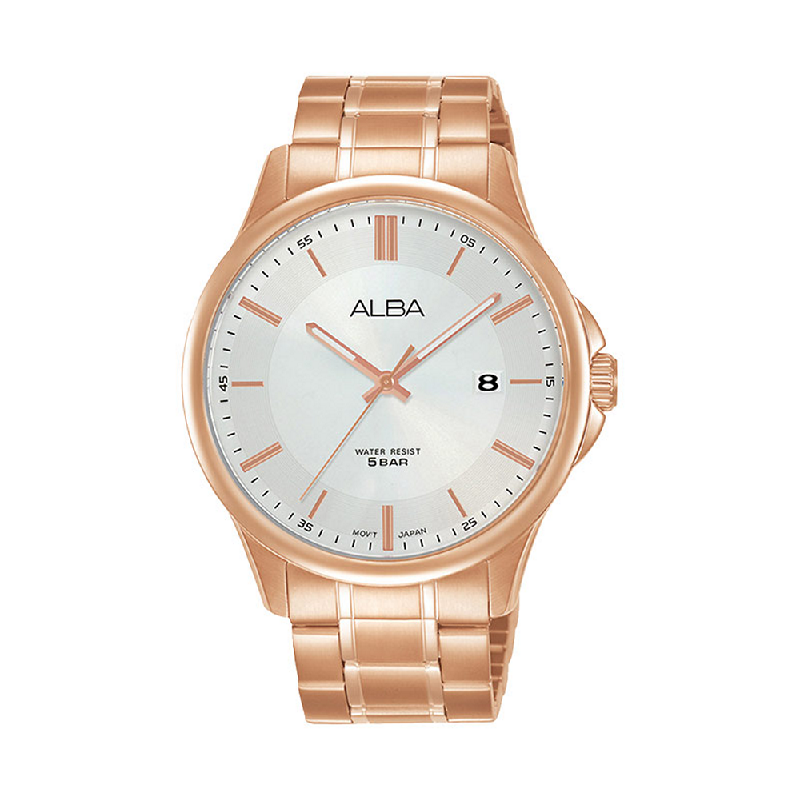 Alba AS9L30X1 Men Silver Dial Rose Gold Stainless Steel Strap