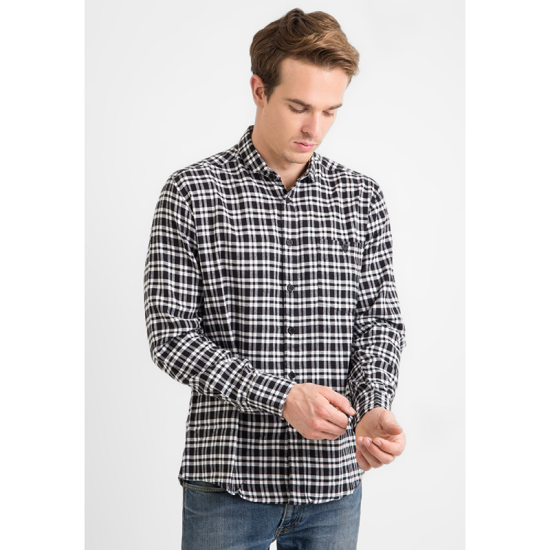 17Seven Men Shirt Flanel Valdes Checkered Black