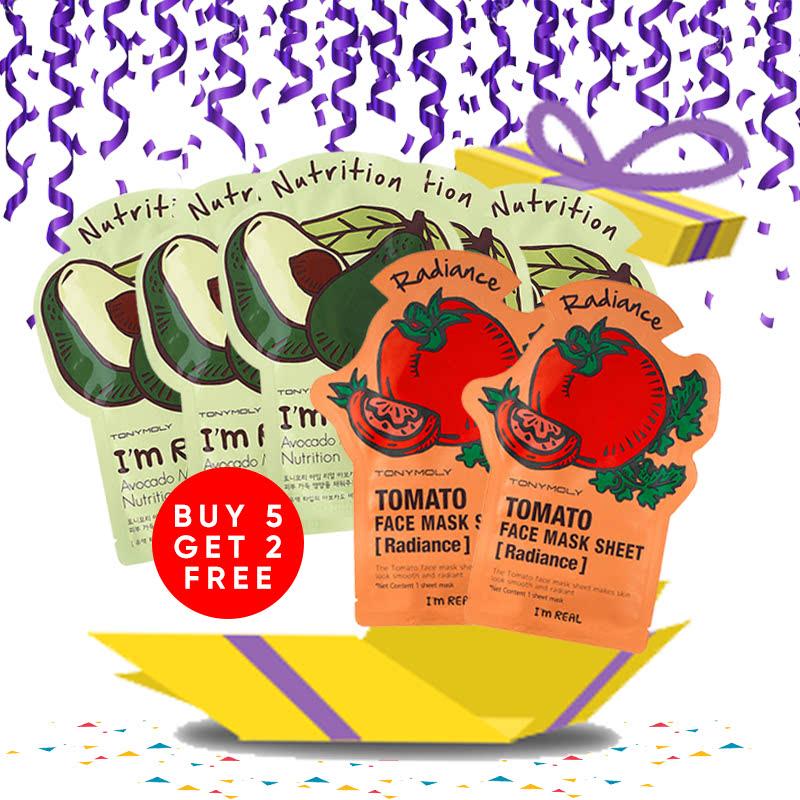 Tony Moly Bundle 5pcs I Am Real Avocado Mask Sheet Nutrition + 2pcs Tomato Mask Sheet Skin Glow