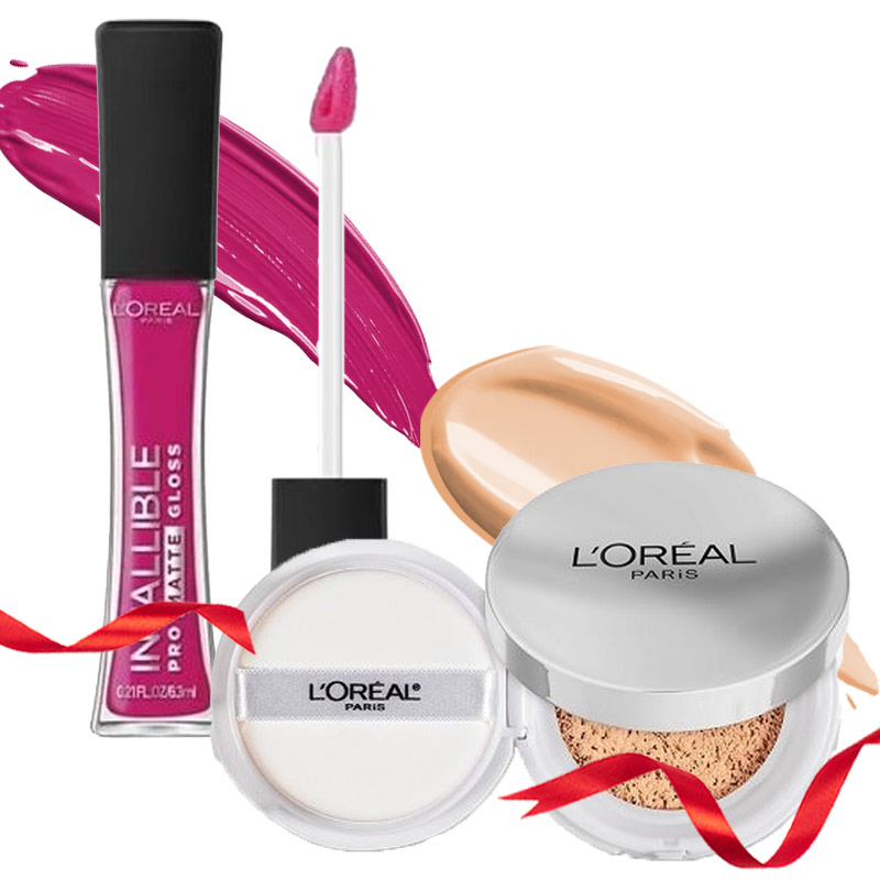 Loreal Bb Cushion True Match - N1 Nude Ivory + Loreal Lip Infall Prom Gloss 304