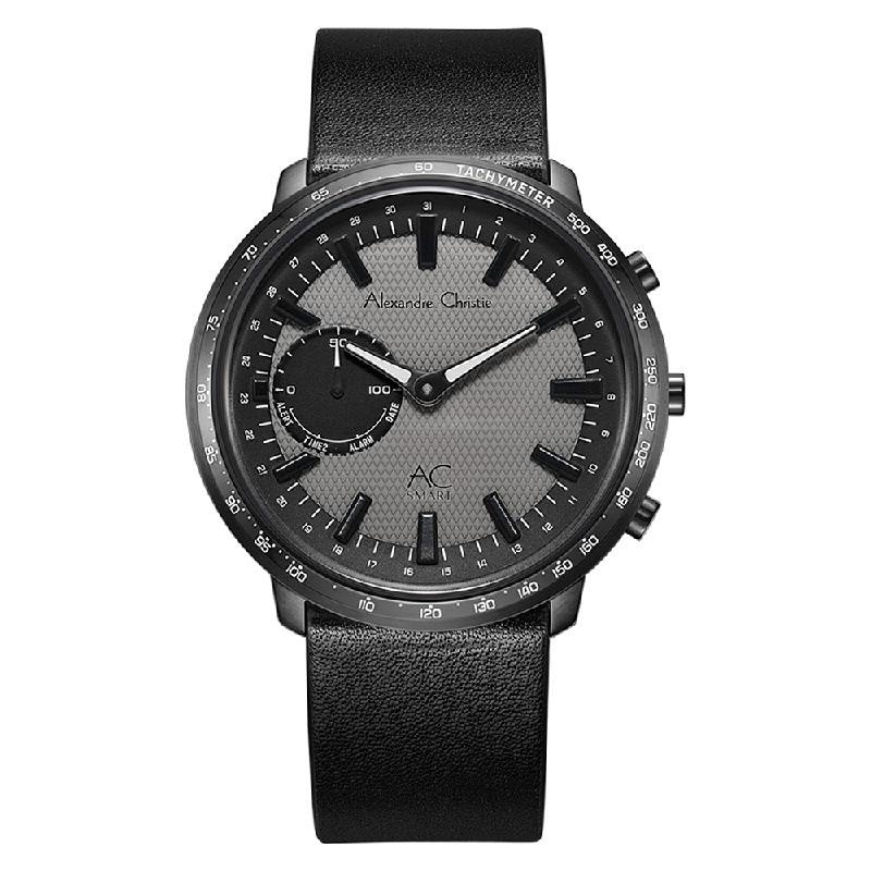 Alexandre Christie AC S001 MF LIPGR Hybrid Smartwatch Men Gunmetal Dial Black Leather Strap
