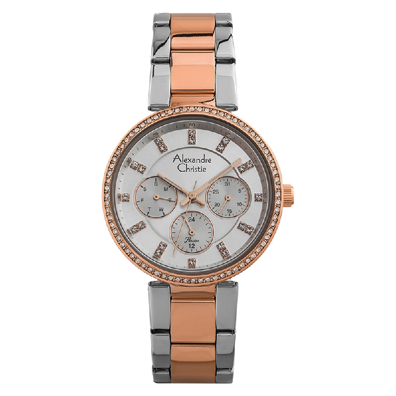 Alexandre Christie Passion AC 2874 BF BTRSL Ladies Silver Dial Dual Tone Stainless Steel Strap