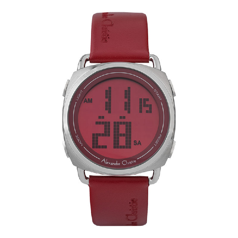 Alexandre Christie AC 9333 LH LSSRE Ladies Digital Dial Red Leather Strap