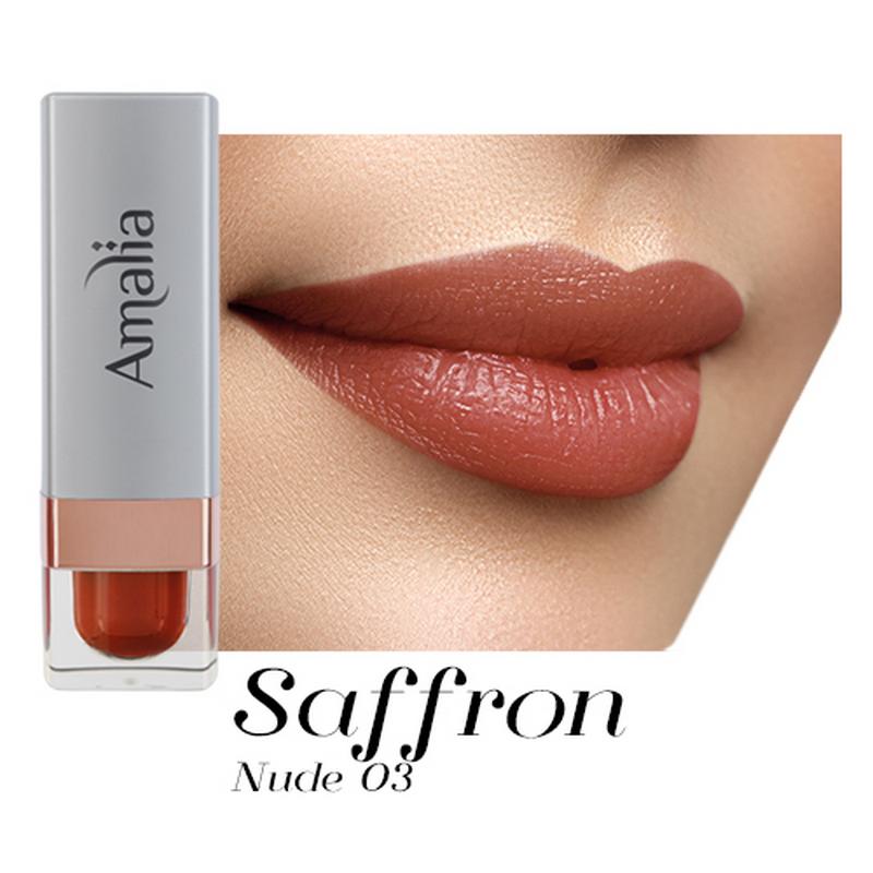 Amalia Satin Lipstick Saffron Nude 03
