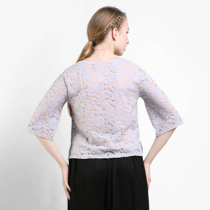 BLIC4173  Icons Half Sleeves lace blouse  Color  Blue
