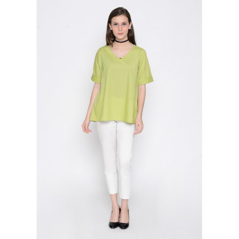 Agatha Basic Blouse With V-Neck Green